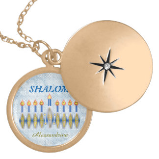 Hanukkah Menorah Shalom Customizable Name Round Locket Necklace