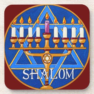Hanukkah Menorah Shalom Peace Coaster Set
