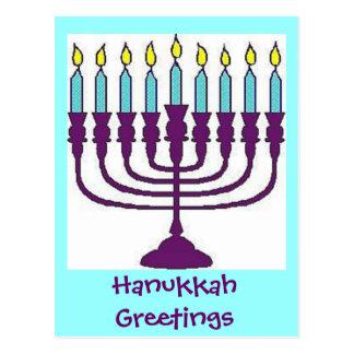 Hanukkah Menorah Shalom Postcard