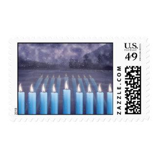 Hanukkah Menorah & Snowy Window Postage Stamps