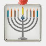 Hanukkah menorah square metal christmas ornament