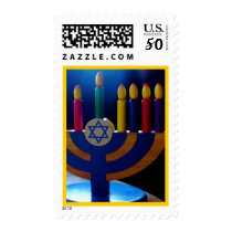 Hanukkah Menorah Stamp-Colors Postage