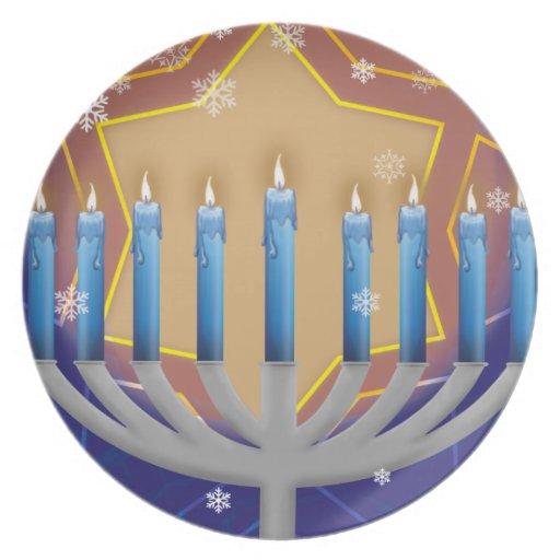 Hanukkah Menorah & Star of David Dinner Plate