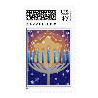 Hanukkah Menorah & Star of David Postage Stamps