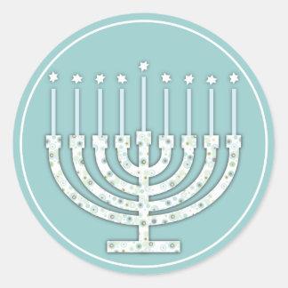 Hanukkah Menorah with Candles Envelope Seals Classic Round Sticker