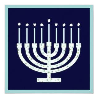 Hanukkah Menorah With Candles In Polka Dot Card at Zazzle