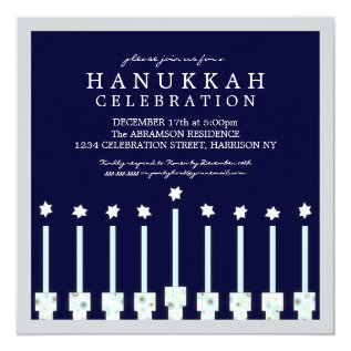 Hanukkah Menorah with Candles in Polka Dot Card at Zazzle