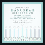 """Hanukkah Menorah with Candles in Polka Dot Invitation<br><div class=""""desc"""">A whimsical menorah in circles of blue and green makes a welcoming invitation to your Hanukkah celebration.</div>"""