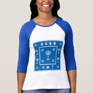 Hanukkah Motif blue Ladies Fitted Raglan T-shirt