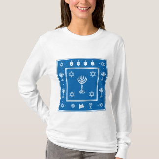 Hanukkah Motif blue Ladies Long Sleeve T-shirt