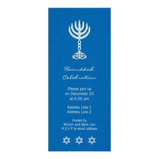 Hanukkah Motif blue Long Invitation