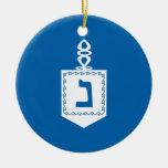 Hanukkah Motif blue Ornament 3