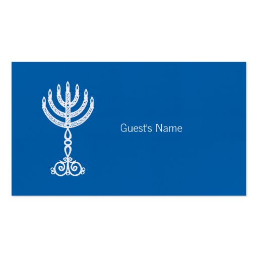 Hanukkah Motif blue Place Card Double-Sided Standard Business Cards (Pack Of 100)