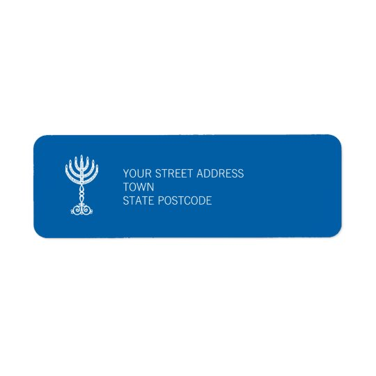 Hanukkah Motif blue Return Address Label
