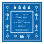 Hanukkah Motif blue Square Invitation