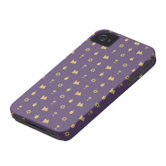 Hanukkah Motif purple iPhone 4 Barely There iPhone 4 Cover