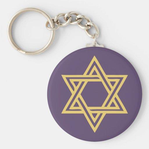 Hanukkah Motif purple Keychain