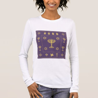 Hanukkah Motif purple Ladies Fitted Long Sleeved Long Sleeve T-Shirt