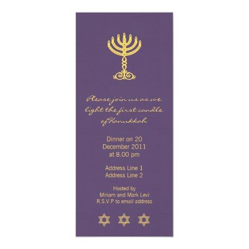 Hanukkah Motif purple Long Invitation
