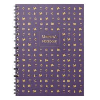 Hanukkah Motif purple Notebook notebook