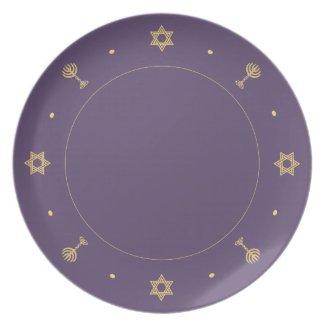 Hanukkah Motif purple Plate plate