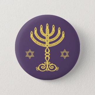 Hanukkah Motif purple round Button