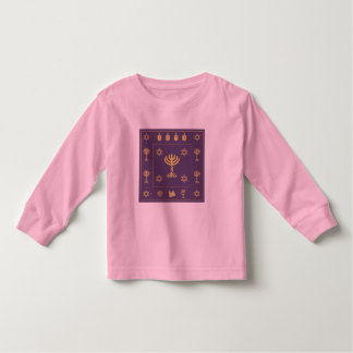 Hanukkah Motif purple Toddler Long Sleeve T-shirt