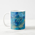 """Hanukkah Mug Colorful Golds/Blues Design<br><div class=""""desc"""">Colorfully Fun Hanukkah mug. """"Colorful, Gold/Blues Design"""" Chanukah Mug. Personalize by deleting text, """"Dear Bubbie, We love you! Dana, Sarah and Daniel"""" and adding your own message. Use your favorite font style, color, and size. Design element, """"Happy Chanukah"""" can be moved, resized and deleted. Design element of 3 stars can...</div>"""