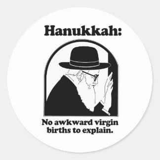 Hanukkah - No awkward virgin births Round Stickers