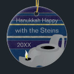 """Hanukkah """"Oil Lamp/Gold"""" Circle Ornament<br><div class=""""desc"""">Hanukkah """"Oil Lamp/Gold"""" Circle Ornament. (2 sided) Personalize by deleting text on front and back of the ornament. Then using your favorite font color, size, and style, type in your own words. Thanks for stopping and shopping by. Much appreciated! Happy Chanukah/Hanukkah! Bring a lot more holiday cheer to your tree...</div>"""