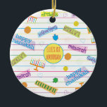 """Hanukkah """"Party Chanukah"""" Circle Ornament<br><div class=""""desc"""">Hanukkah """"Party Chanukah"""" Circle Ornament. (2 sided) Personalize by deleting text on the ornament and replacing with your own. Then using your favorite font color, size, and style, type in your own words. Circle shape in center of ornament can also be changed out or deleted. Thanks for stopping and shopping...</div>"""
