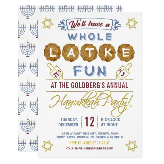 Hanukkah Party Funny Whole Latke Fun Card Zazzle Com