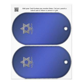 Hanukkah Party gift or favor Bag Tags Flyer
