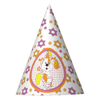 "Hanukkah Party Hat ""Zeevie/dog with Balloons"""