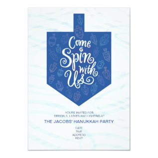 Hanukkah Party Invitation / Come Spin With Us at Zazzle