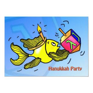 Hanukkah Party Invitation Funny Cute Fish Dreidel at Zazzle