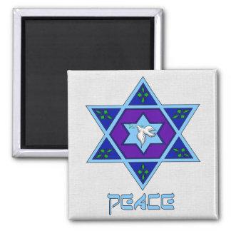 Hanukkah Peace Art 2 Inch Square Magnet