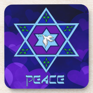Hanukkah Peace Art Beverage Coaster
