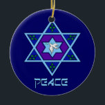 "Hanukkah Peace Art Ceramic Ornament<br><div class=""desc"">Blues of all shades,  lilac and lavender in a flower shape with a knotted six-sided star in the center is a great way to celebrate Hanukkah and express your individuality at the same time.</div>"