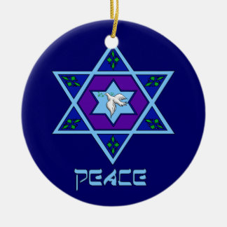 Hanukkah Peace Art Ceramic Ornament