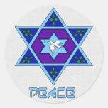 Hanukkah Peace Art Classic Round Sticker