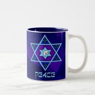 Hanukkah Peace Art Two-Tone Coffee Mug