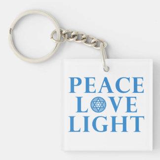 Hanukkah - Peace Love Light Double-Sided Square Acrylic Keychain