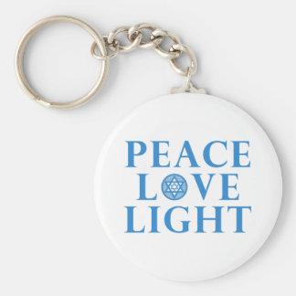 Hanukkah - Peace Love Light Basic Round Button Keychain