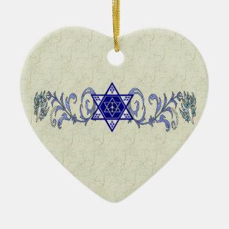 Hanukkah Peace Star Double-Sided Heart Ceramic Christmas Ornament