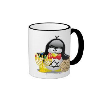 Hanukkah Penguin Ringer Coffee Mug