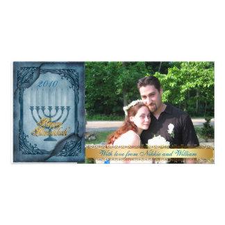 Hanukkah Photo Card blue Parchment