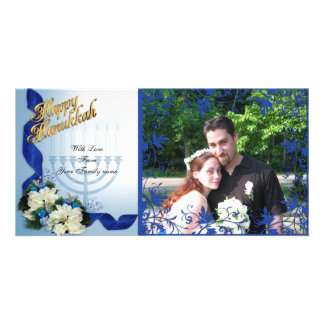 Hanukkah Photo Card blue ribbons floral