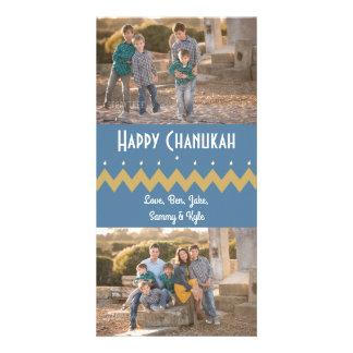 """Hanukkah Photo Card with white envelope """"Chevron"""""""