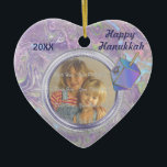 """Hanukkah Photo Greetings Ceramic Ornament<br><div class=""""desc"""">Ornament features a pretty purple abstract background with Dreidel. Photo area and front text are ready for you to customize. Back of this photo Ornament says Hanukkah Greetings and text is ready for you to add names. Wonderful Hanukkah gift or keepsake idea.</div>"""